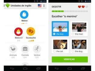 Gratuito, o Duolingo é uma plataforma de ensino de idiomas presente no Android, no iOS e também na web. Para falantes em português, oferece lições de inglês e de espanhol