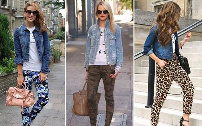 Combine a jaqueta com calças estampada, fica super estiloso e pode ajudar quem tem