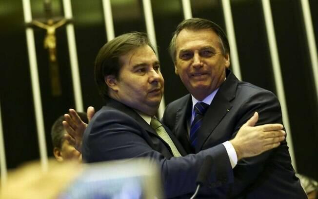 Bolsonaro e Rodrigo Maia juntos na Câmara