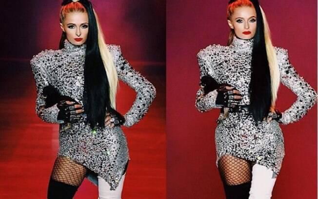 Paris Hilton desfilou na fashion week usando look inspirado em Cruella De Vil, de