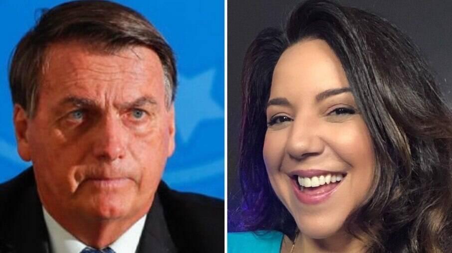 Presidente Jair Bolsonaro e a jornalista Luciana Liviero