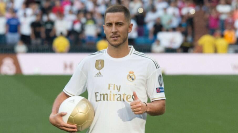 Eden Hazard, durante sua apresentação ao Real Madrid em 2019