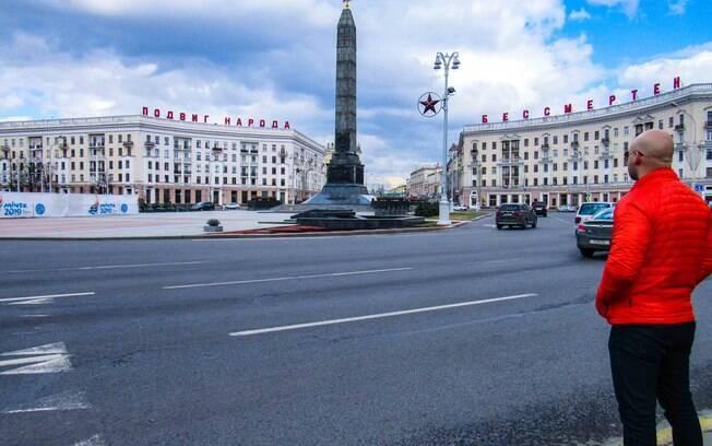 O médico Álvaro Souto na Bielorrússia em sua aventura no começo de 2020