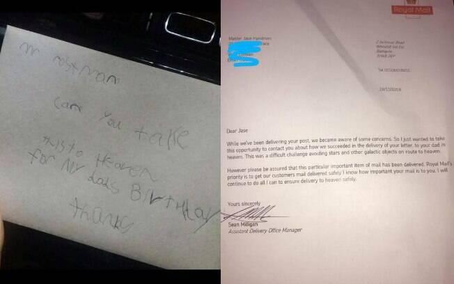 Criança escreveu cartão de aniversário para pai que faleceu há quatro anos e foi surpreendido com resposta