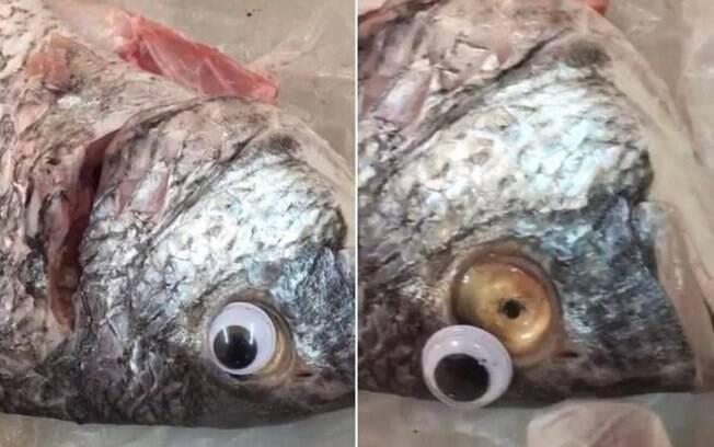 Mercado colocava olhos de plástico quando encontrava peixe estragado; a foto foi tirada por um consumidor enganado