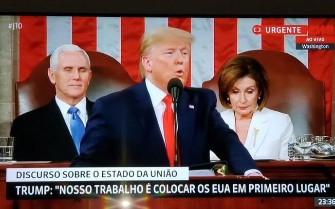 Presidente fez postagens nas redes sociais para mostrar que acompanhava discurso de Trump pela TV