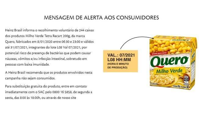 A Heinz recomenda que as pessoas não consumam o milho verde em questão