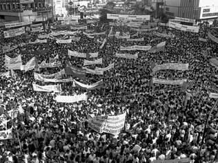 """Democracia. Campanha """"Diretas Já"""" marcaram luta popular pelo fim da Ditadura, em meados da década de 1980"""
