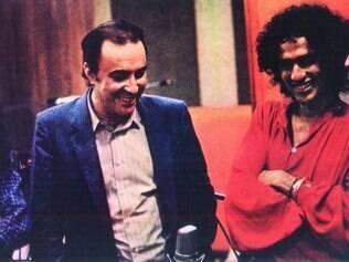 """Memória. Foto histórica nos estúdios da gravação do disco """"Brasil"""", em 1981: Bethânia, João Gilberto, Caetano Veloso e Gilberto Gil"""