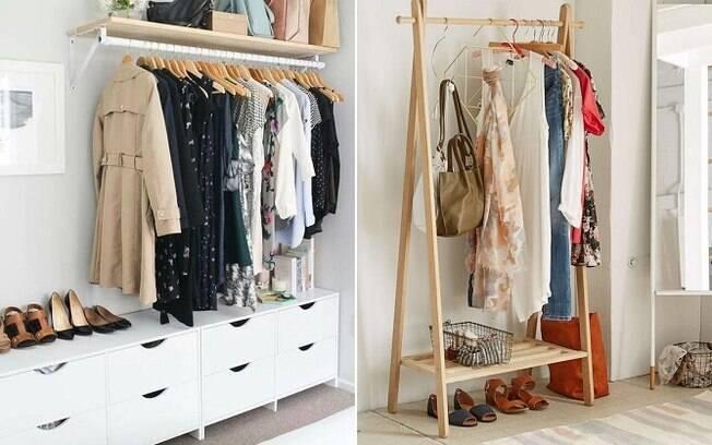 Se não há muito espaço para móveis, uma boa opção é utilizar uma arara, já que elas são facilmente removíveis