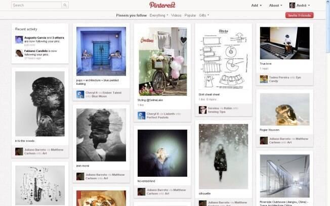 Pinterest tem visual limpo e com poucas configurações