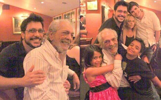 Lúcio Mauro comemorou o aniversário ao lado do filho, Lúcio Mauro Filho, e do resto da família