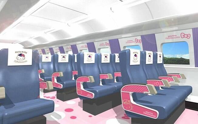 Os assentos e as janelas dos passageiros também serão decorados com o desenho da gatinha mais famosa do mundo