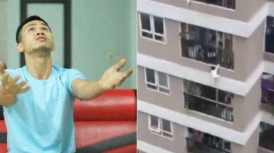 Criança caí de 12° andar de prédio e é salva por entregador no Vietnã