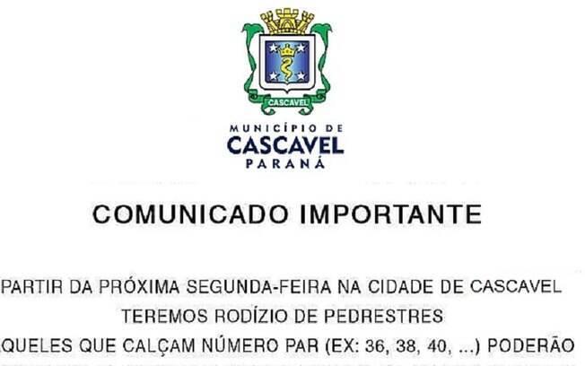 Criador da fake news sobre rodízio em Cascavel imitou decreto oficial, mas documento não é datado
