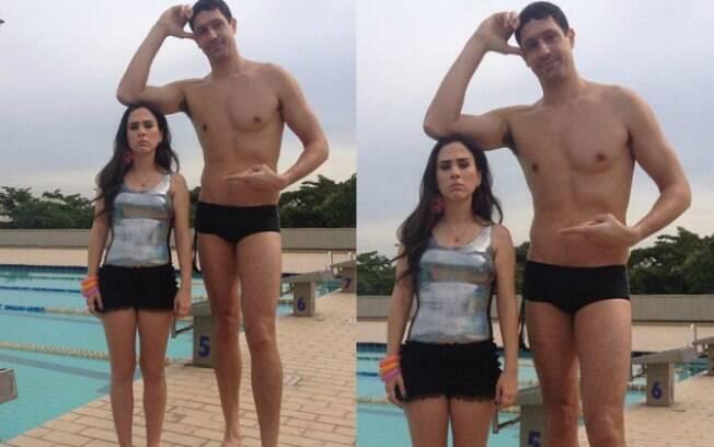 Tatá Werneck e Gustavo Borges mostram diferença de estatura entre eles