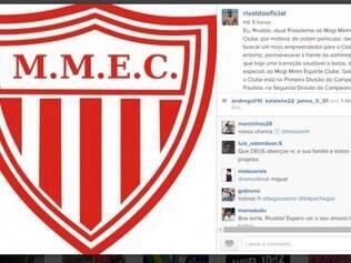 Na rede social, o ex-jogador publicou mensagens em português, espanhol e inglês, oferecendo o clube