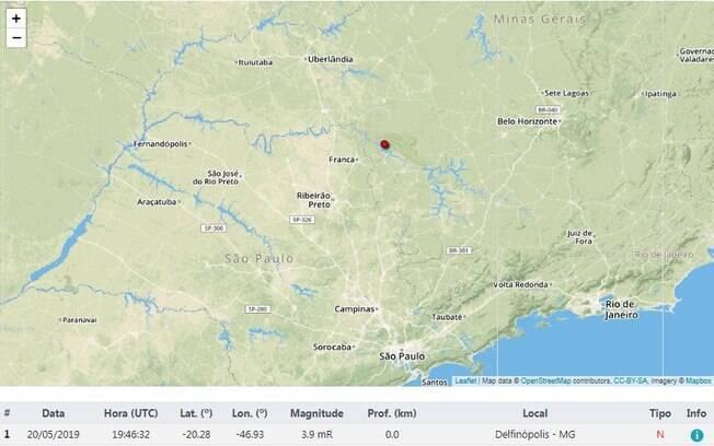 De acordo com a UnB, o tremor começou às 16h46 e pode ser sentido em um raio de 100 km do epicentro