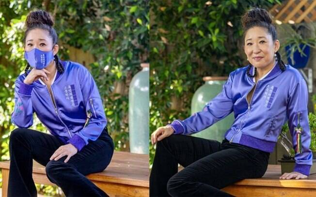 Sandra Oh usa bomber da KORELIMITED para o Emmy 2020