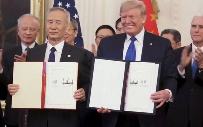 Estados Unidos e China assinaram fase 1 de acordo comercial