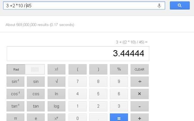 Calculadora científica da busca do Google funciona por meio de voz