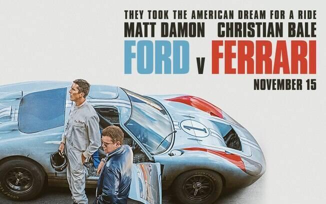 Cartaz do filme Ford vs Ferrari: foco na história americana com Carroll Shelby (de azul) e Ken Milles  em destaque