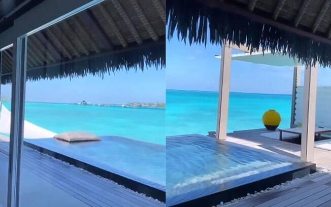 Quarto de Ana Paula Siebert e Roberto Justus na Maldivas