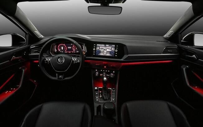 O painel do VW Jetta R-Line é levemente virado para o motorista, com LEDs de iluminação ambiente