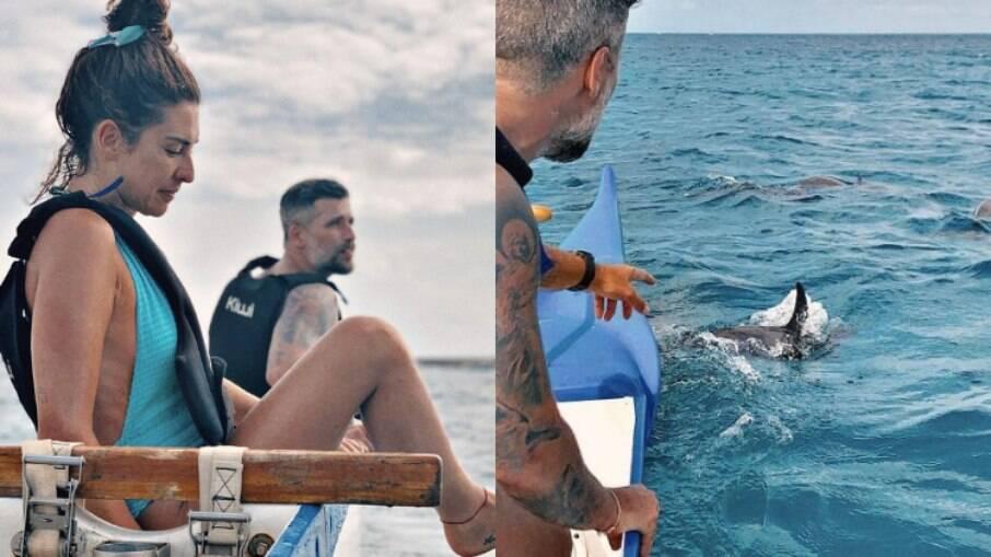 Bruno Gagliasso compartilhou fotos de seu passeio de canoa havaiana em Noronha no Instagram