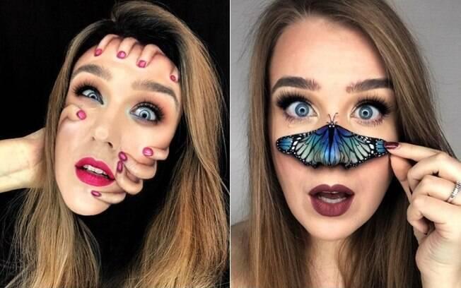 A jovem da Lituânia está chamando atenção na internet por criar ilusões de ótica usando ténicas de maquiagem artística