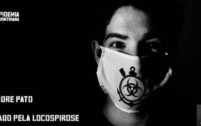 Pato com máscara, que, segundo o clube,  identifica os contaminados pela paixão