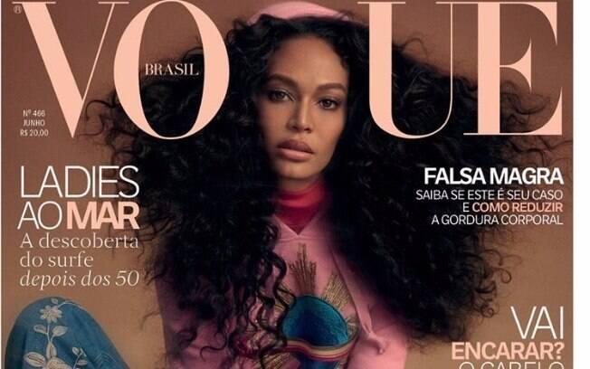 A bela porto-riquenha Joan Smalls na capa da edição de junho da Vogue Brasil