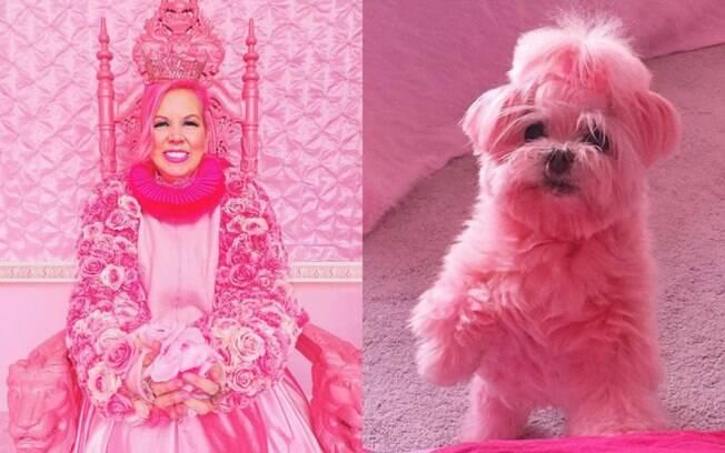 Kitten Kay Sera compra tudo cor-de-rosa desde o seus 20 anos e faz isso por se sentir deslumbrante nessa cor; nem o cachorro escapou