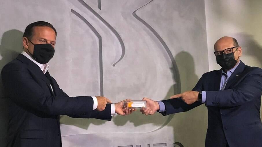 Governador João Doria e o diretor do Instituto Butantan, Dimas Covas
