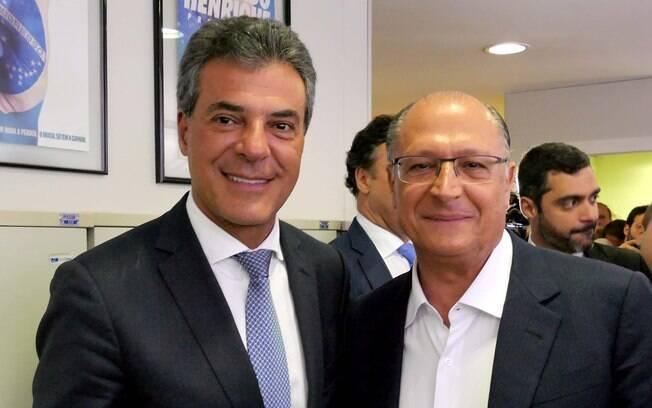 Geraldo Alckmin e Beto Richa durante reunião da Executiva do PSDB realizada em fevereiro deste ano