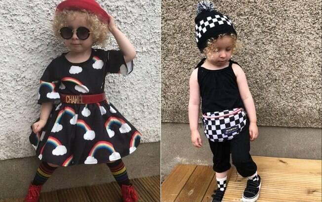 Pequena fashionista tem roupas escolhidas - e às vezes até feitas - pela mãe, Pamela