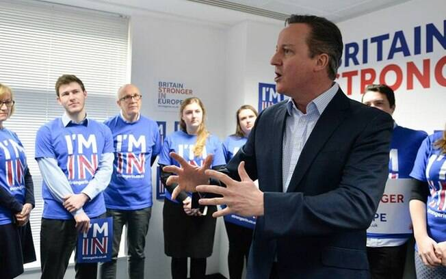 O premiê David Cameron, que faz campanha para manter seu país dentro da União Europeia