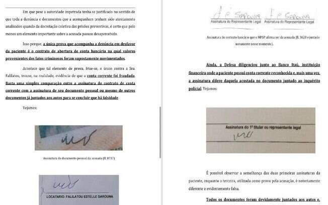 Assinaturas anexadas pela defesa ao pedido de habeas corpus impetrado ao STJ