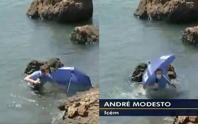 André Modesto caiu no rio durante entrada ao vivo em telejornal