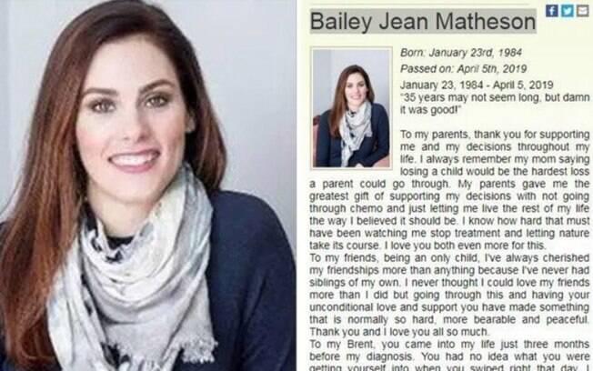 A canadense Bailey escreveu uma mensagem emocionante dias antes de morrer; o obituário saiu em um jornal do Canadá