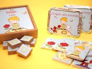 Jogo da velha em madeira, jogo da memória e marmitinha para doces, da Caraminholando