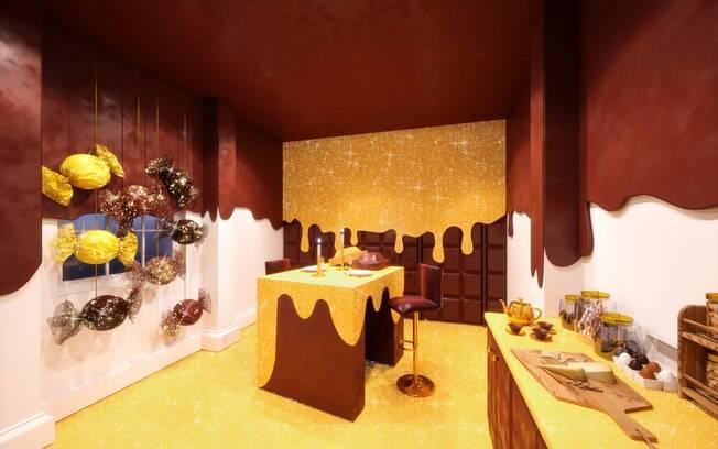 Uma tábua de queijos aguarda os visitantes na cozinha, acompanhada de uma variedade de balinhas de goma retrô.