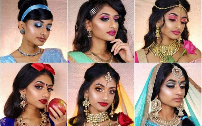 A modelo e maquiadora recriou as princesas da Disney usando vestimentas e maquiagens que remetem à cultura indiana