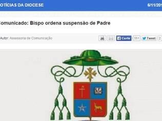 Comunicado foi publicado no site da diocese nessa quinta-feira (6)