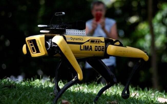 Um cão-robô de quatro patas, chamado Spot, é visto patrulhando um parque
