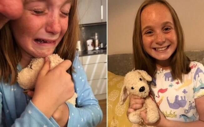 menina chorando abraçada ao brinquedo de pelúcia