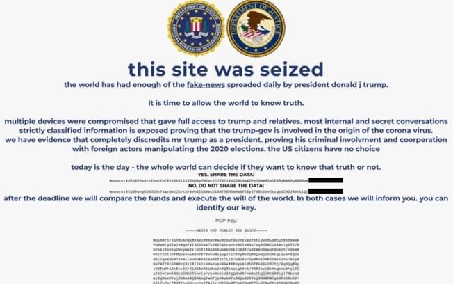 Site de campanha do presidente dos EUA, Donald Trump, foi hackeado e substituído por golpe de criptomoedas