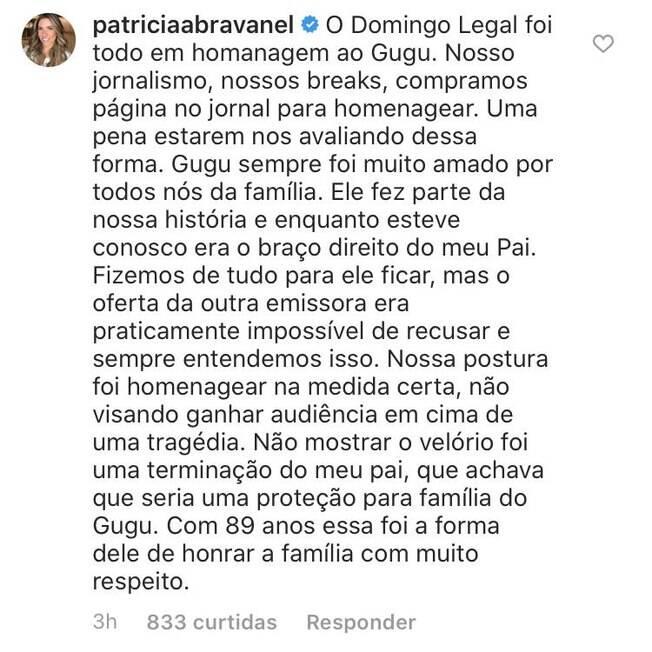 comentário de patrícia abravanel no instagram