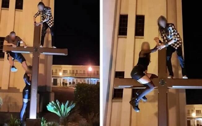 Grupo escalou a cruz da Igreja Matriz Puríssimo Coração de Maria, no município de São Bento do Sul, em Santa Catarina, e causou indignação nos fiéis.
