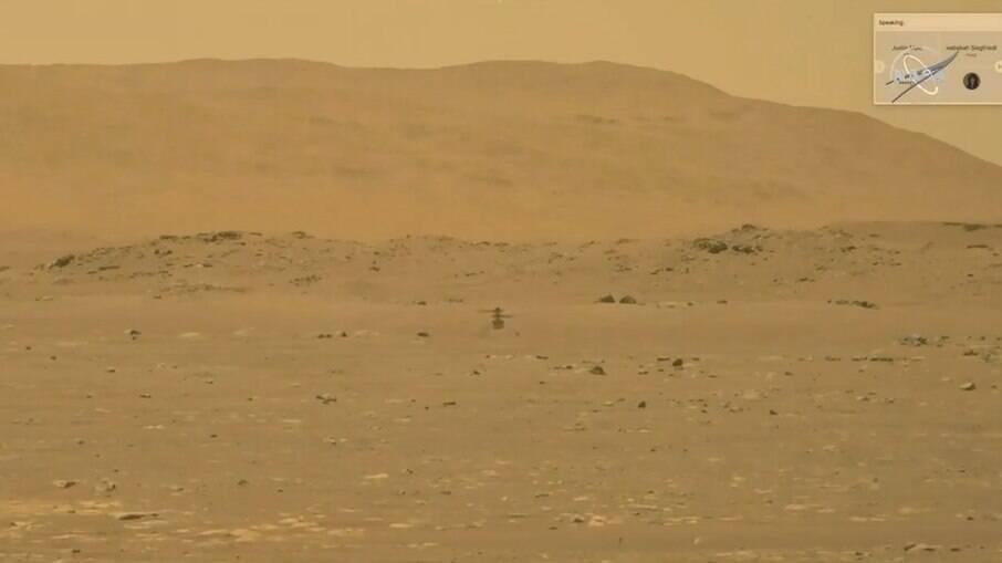 Imagem feita com o robô Perseverance mostra Ingenuity em Marte